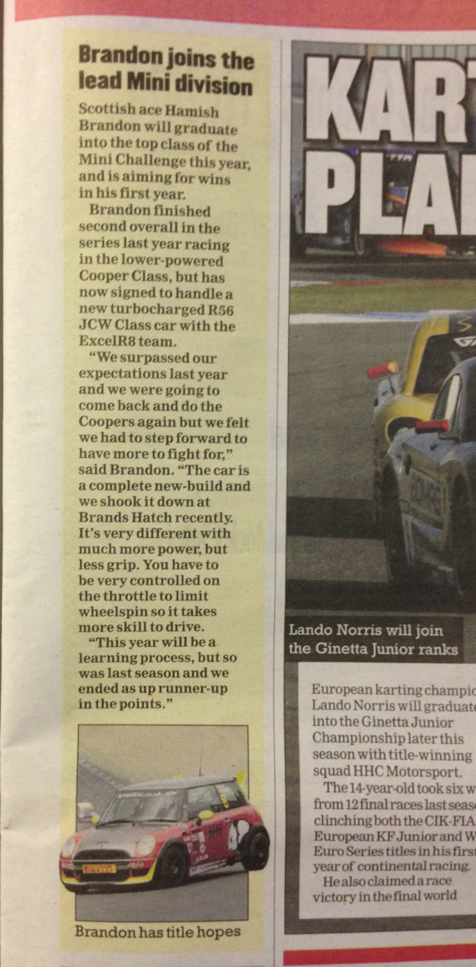 Nice unexpected article in Motorsport News on our 2014 plans - 22nd January 2014